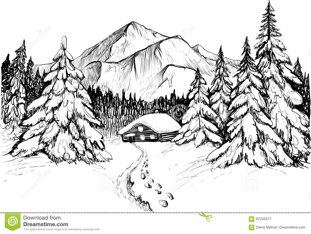 Winter Forest In Mountains Vector Illustration Snowy Firs