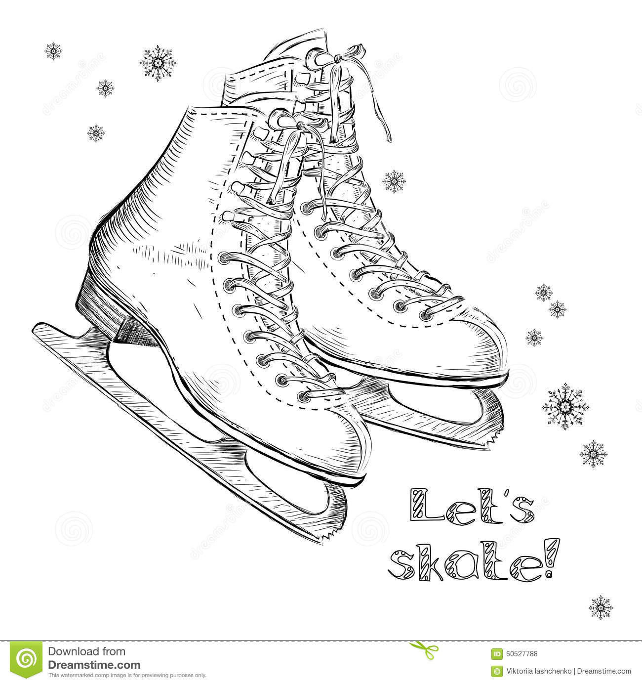 Winter Holidays Card With Ice Skates Cartoon Sketch Hand