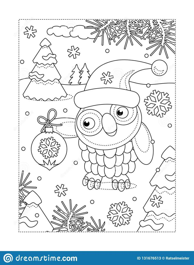 coloring page with owl and christmas tree ornament stock vector