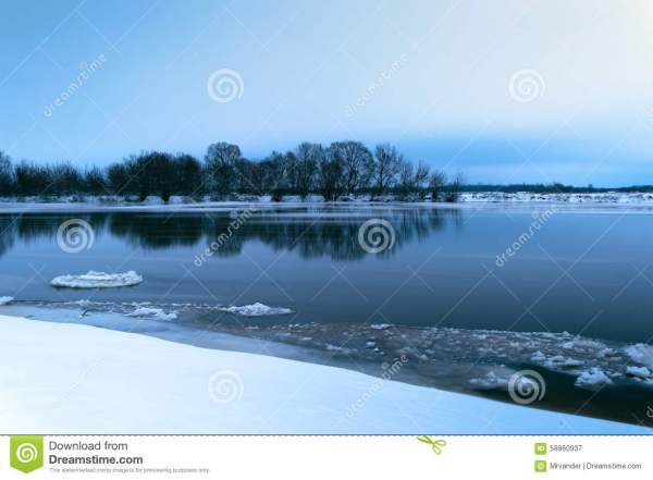 Winter Landscape Frosty Evening On The River Stock Photo ...