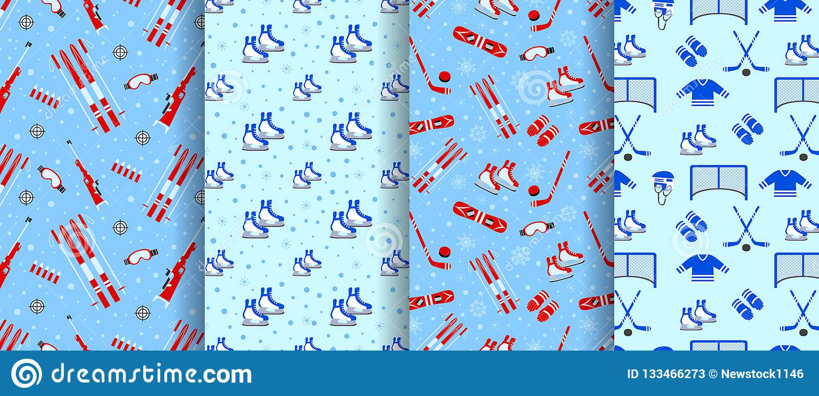 Winter Outdoors Seamless Pattern Collection Repeated