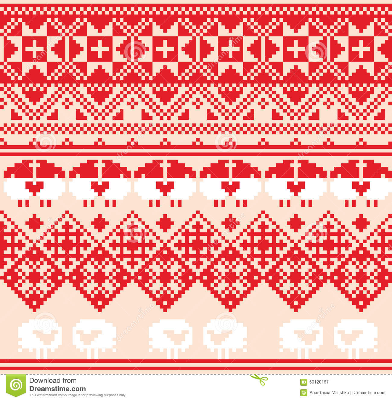 Winter Red Seamless Pattern With Sheep Pixel Design