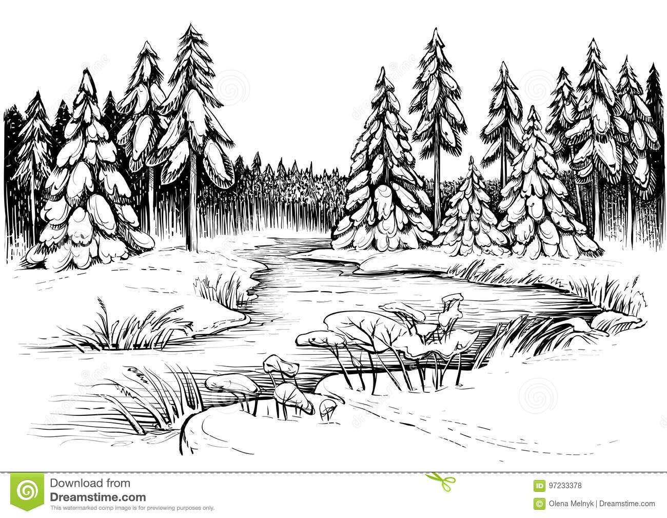 Winter River Under Ice And Forest Of Snowy Firs And Pines