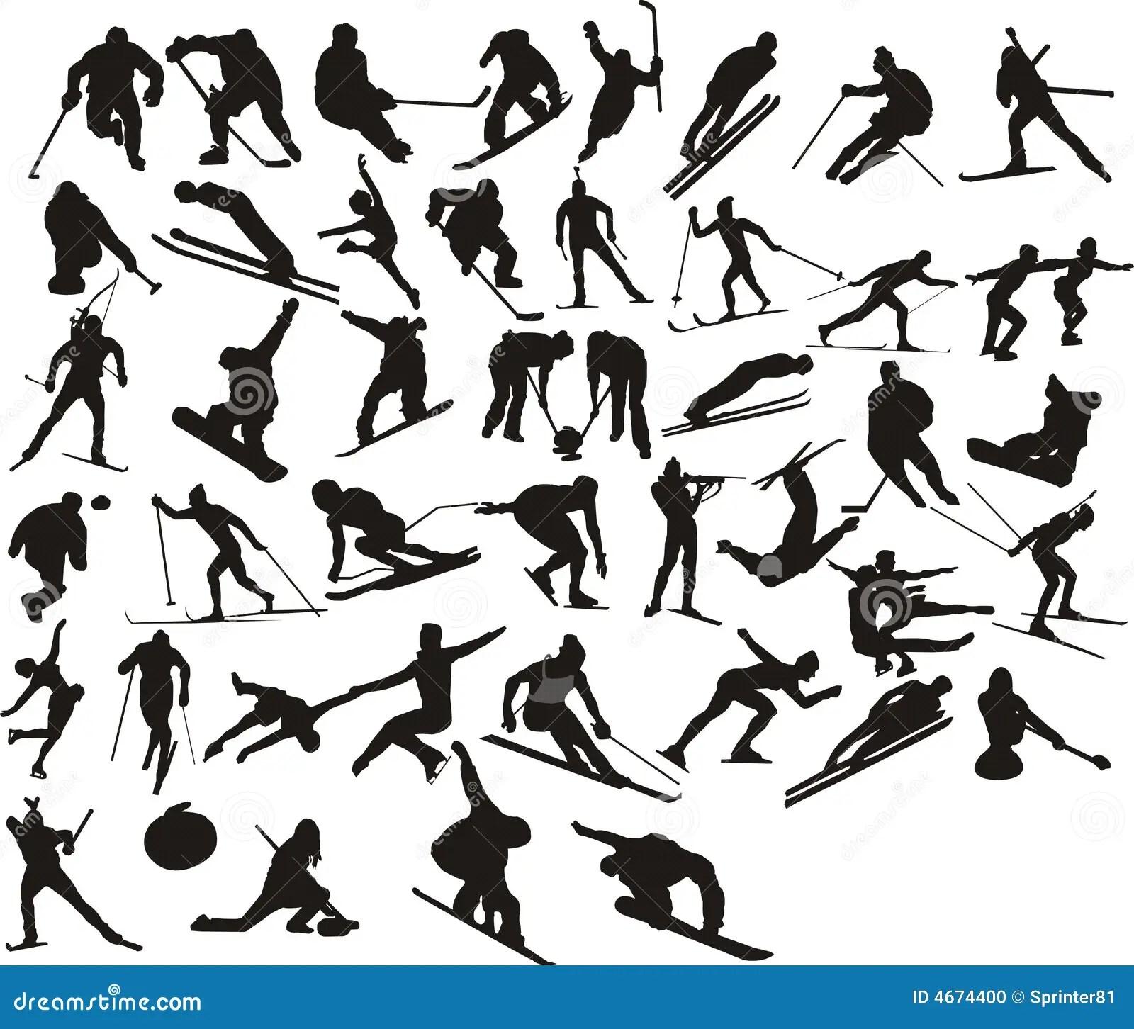 Winter Sport Silhouette Stock Vector Illustration Of