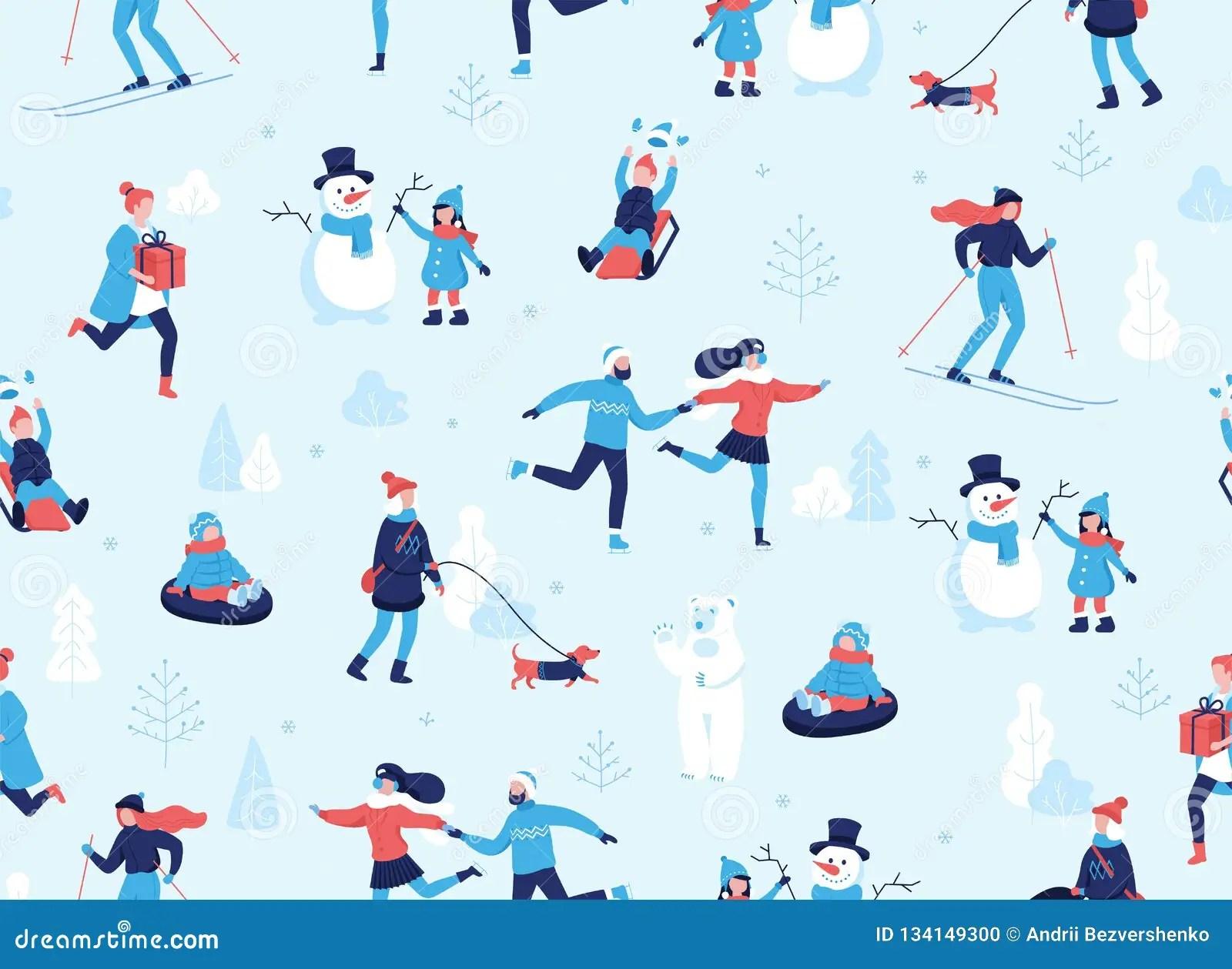 Winter Sports Outdoors Seamless Pattern People Having Fun
