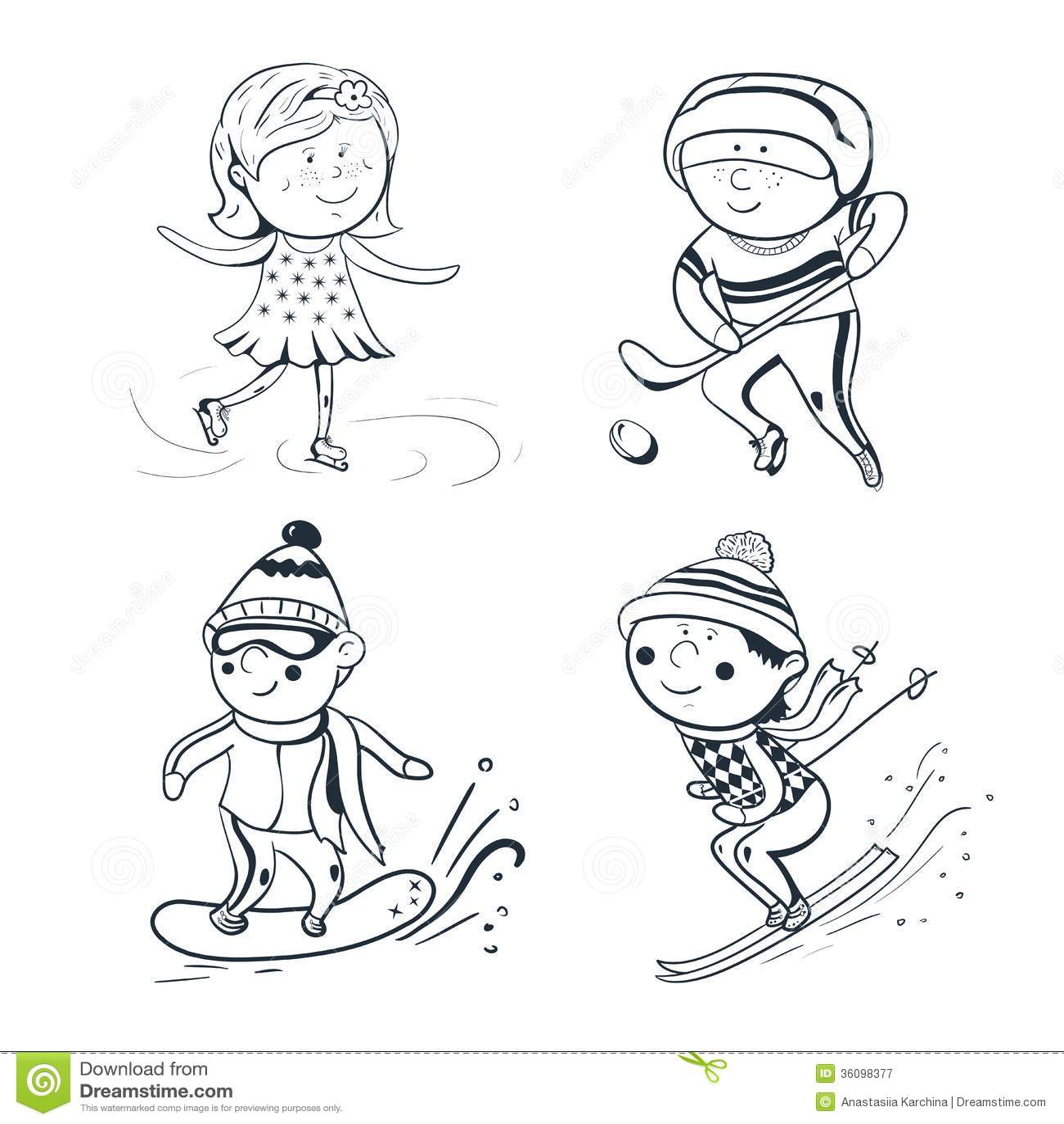 Winter Sports Vector Sketch Sportsmen Royalty Free Stock