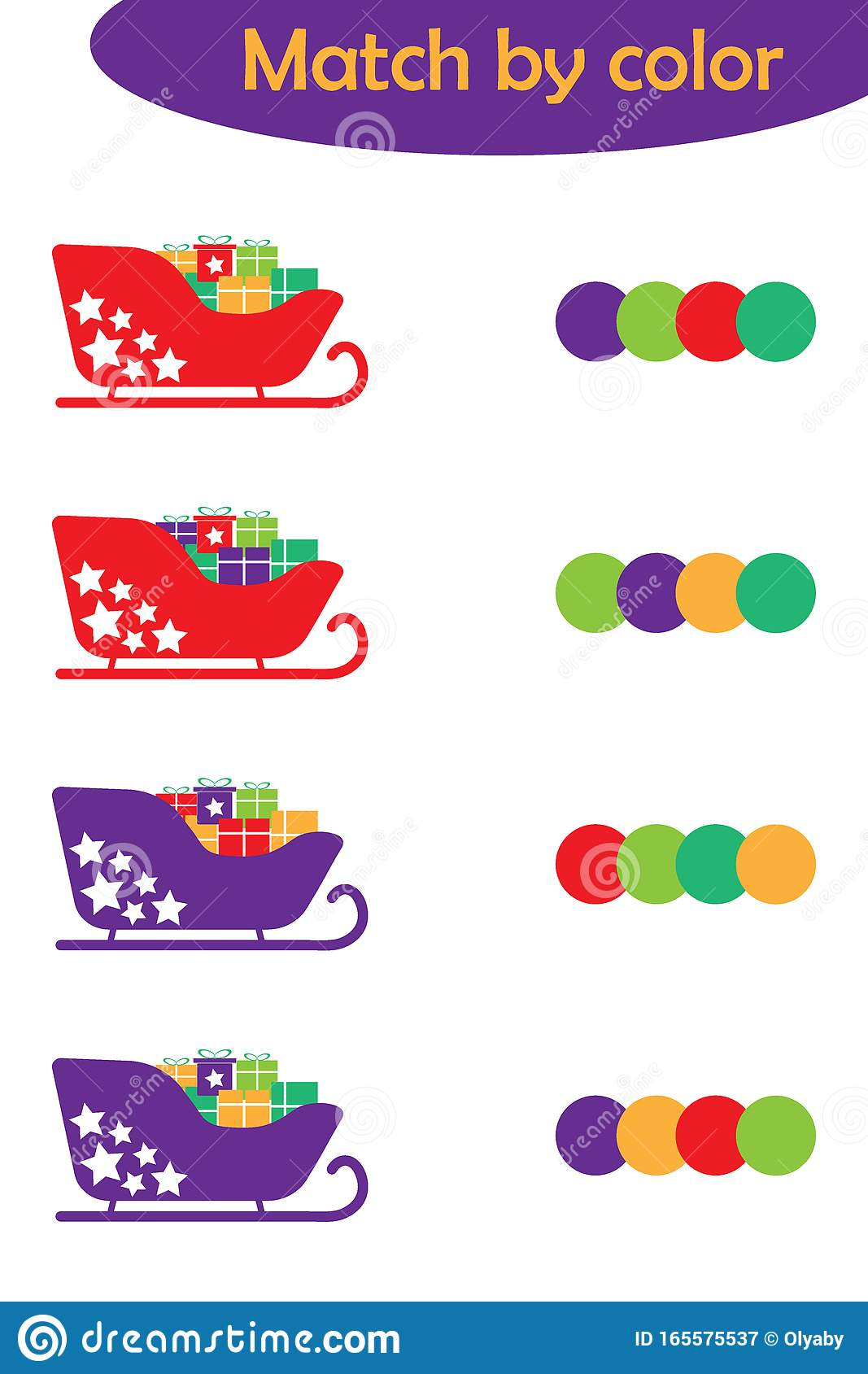 Winter Xmas Matching Game For Children Connect Sleighs