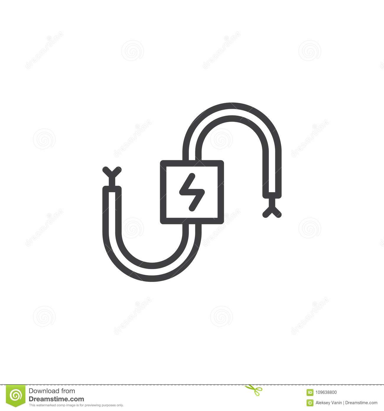 Wire Cable Electrical Line Icon Stock Vector