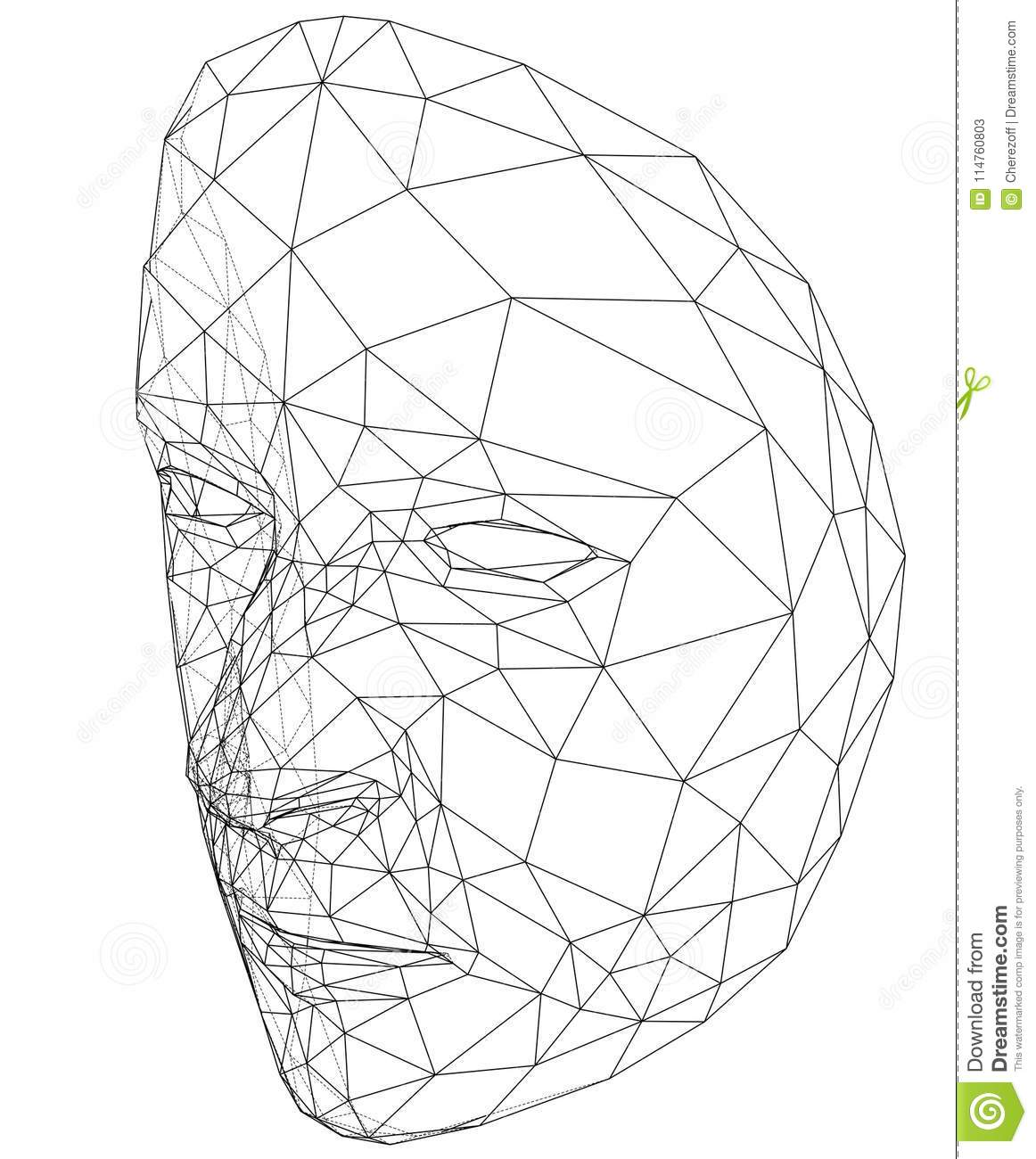 Wire Frame Abstract Human Face Stock Vector