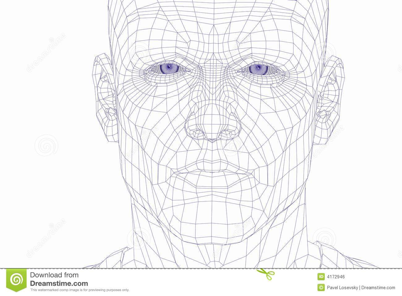Wire Frame Cyber Man Face Stock Photo Image Of Life