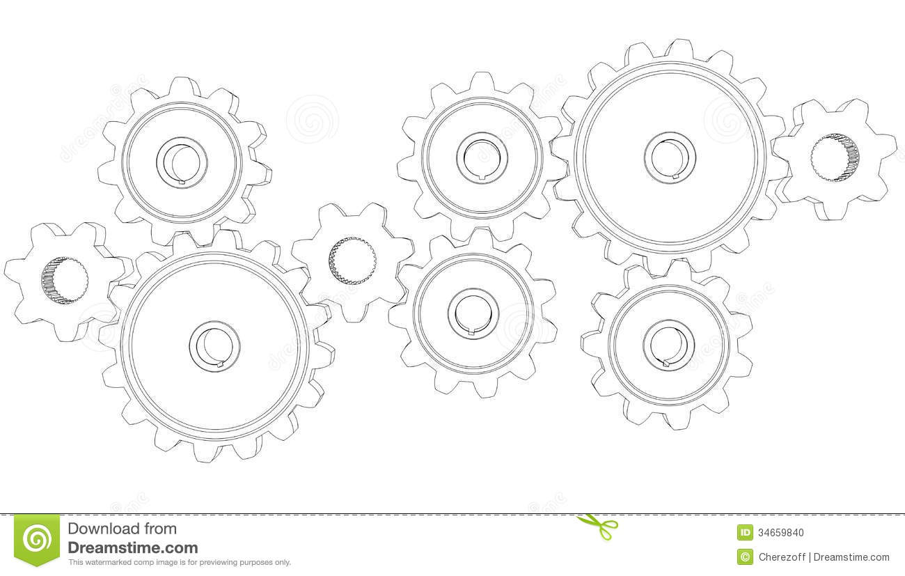 Wire Frame Gears Stock Photo