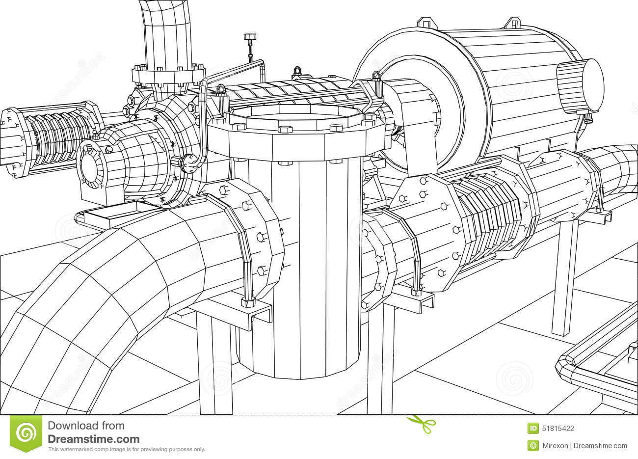 Wire Frame Industrial Equipment Oil Filter Stock Vector