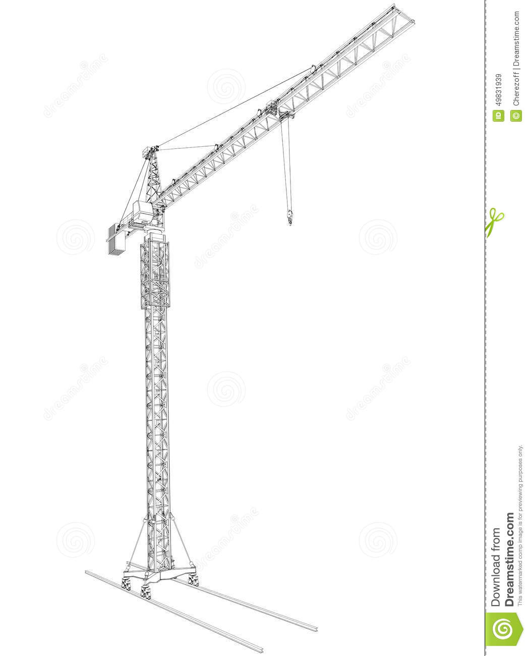 Wire Frame Tower Crane Stock Illustration Illustration Of