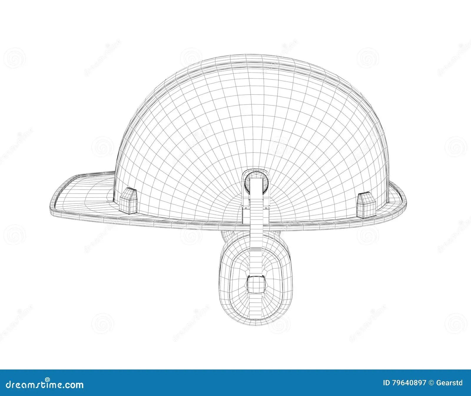 Wireframe Of 3d Model Safety Helmet With Earphones