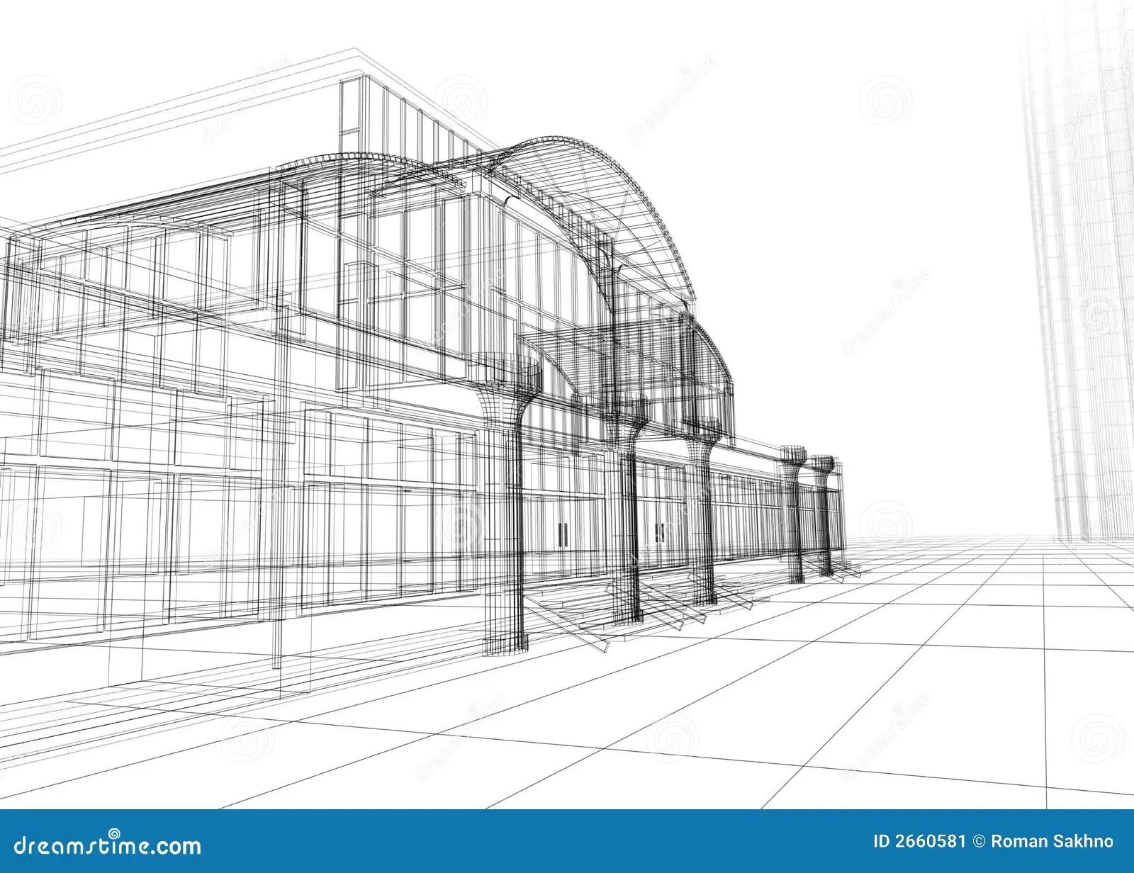 Wireframe Del Edificio De Oficinas Stock De Ilustracion