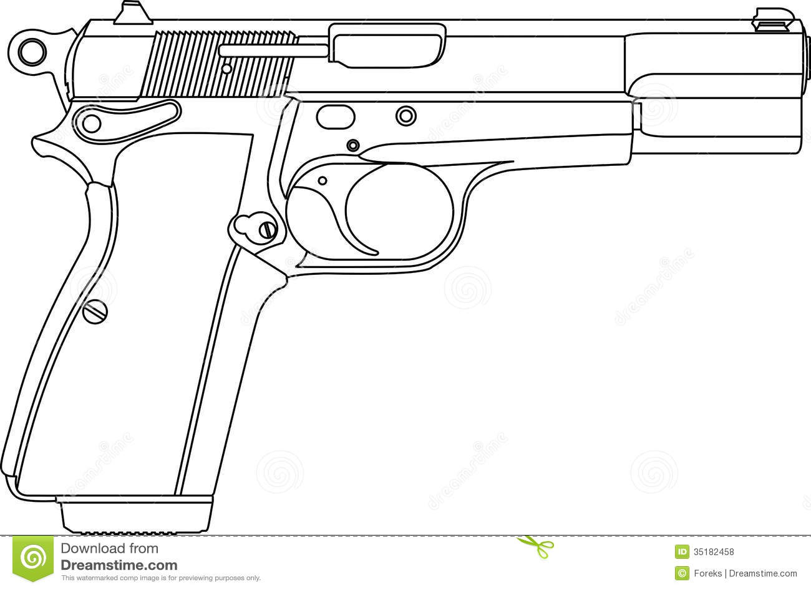 Wireframe Gun Pistol Stock Vector Illustration Of