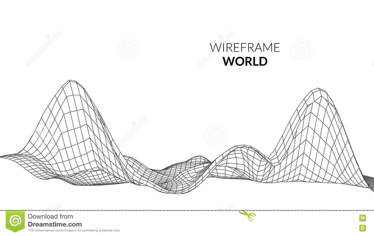 Wireframe Landscape Background Futuristic Landscape With Line Grid Low Poly 3d Wireframe