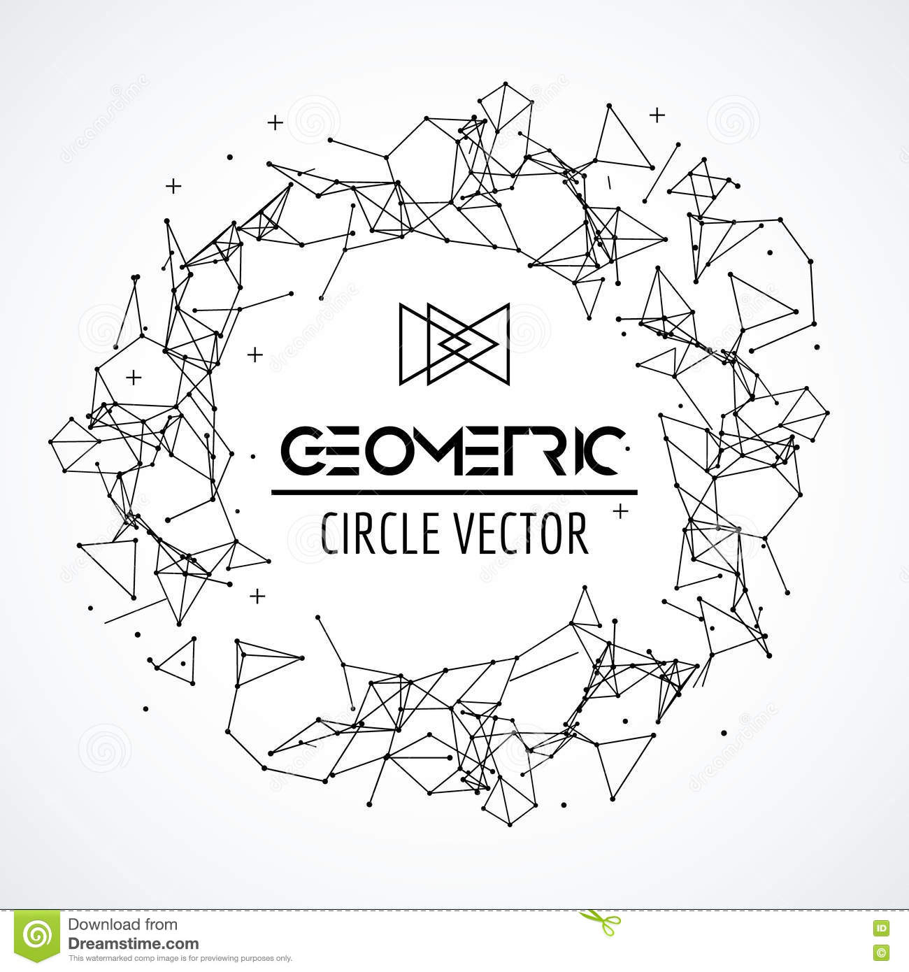 Wireframe Mesh Circle Broken Polygonal Sphere With