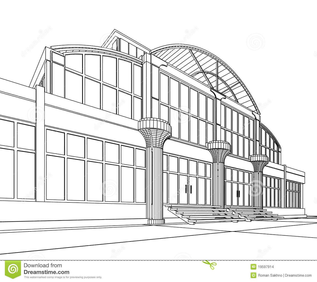 Wireframe Of Office Building Stock Illustration