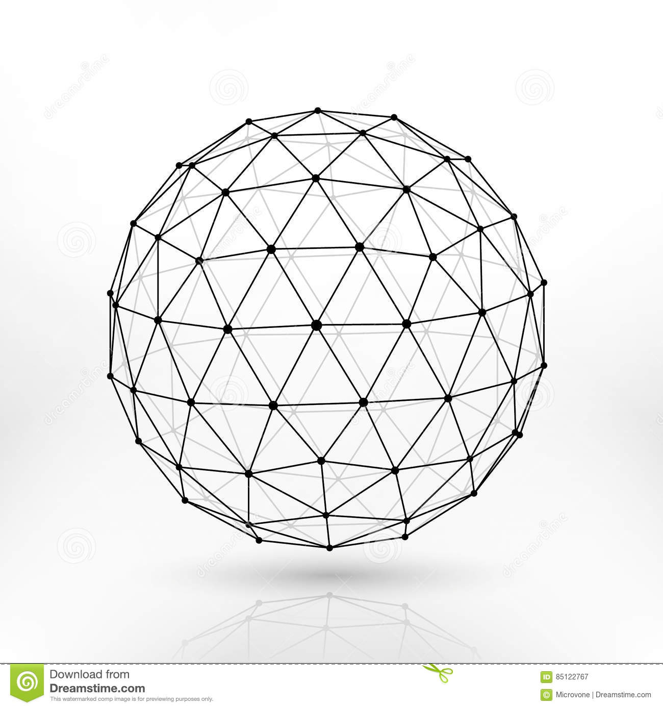 Wireframe Polygonal Vector Sphere Network Lines Abstract