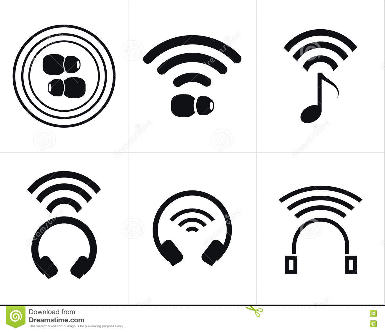 Wireless Headphones And Earbud Icons Stock Vector