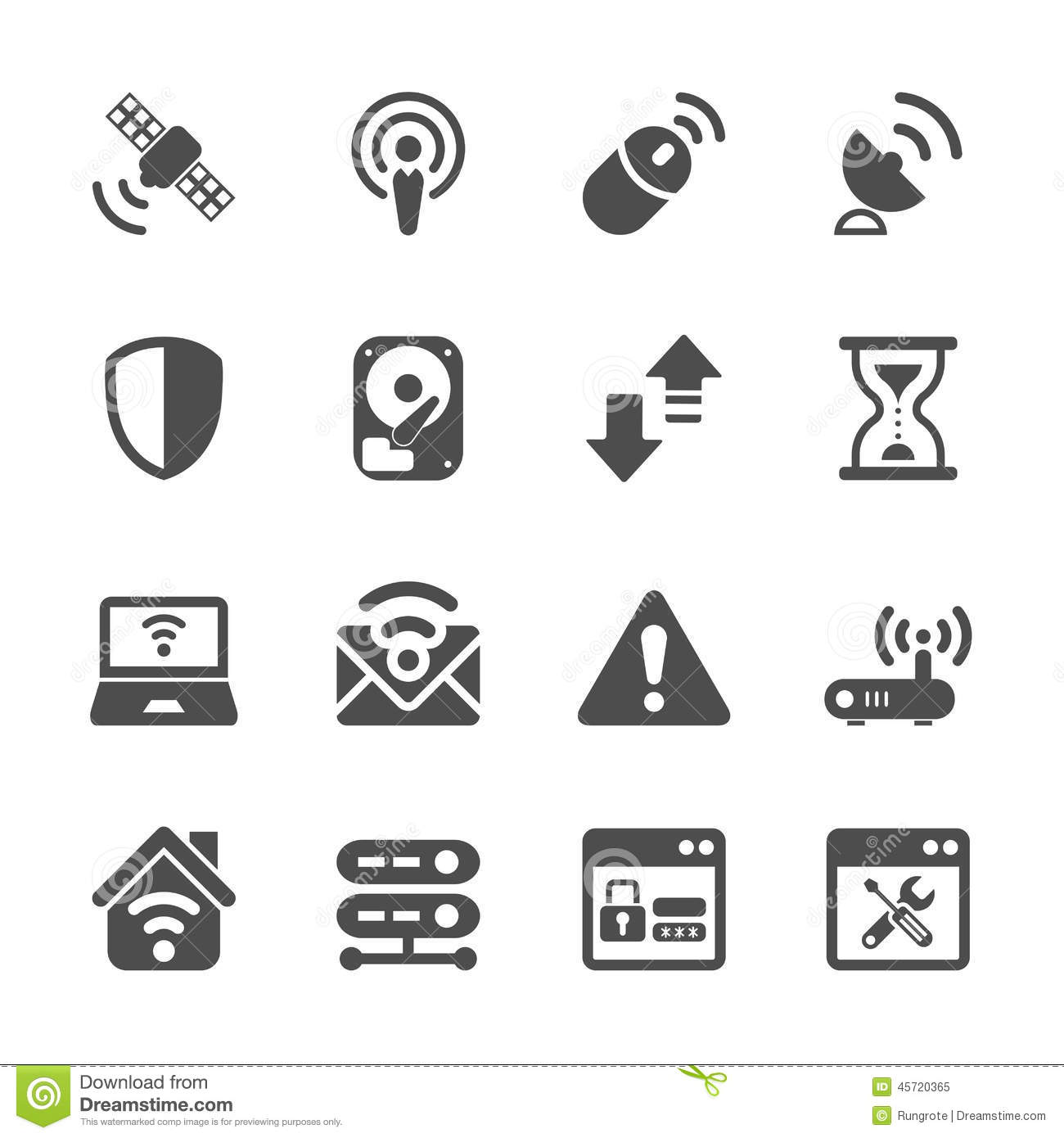 Wireless Network Technology Icon Set Vector Eps10 Cartoon