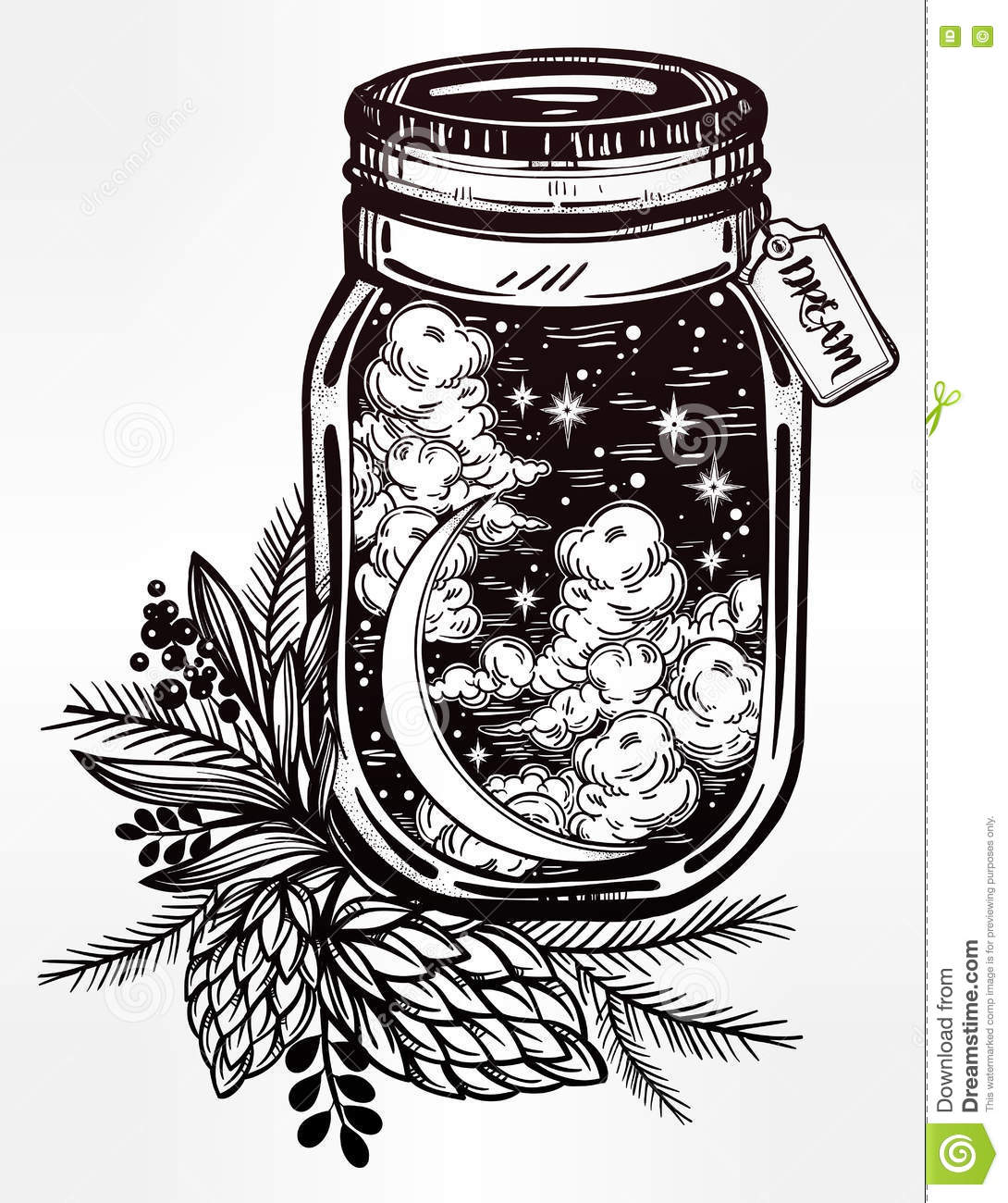 Wish Jar With Night Sky Moon And Stars Stock Vector