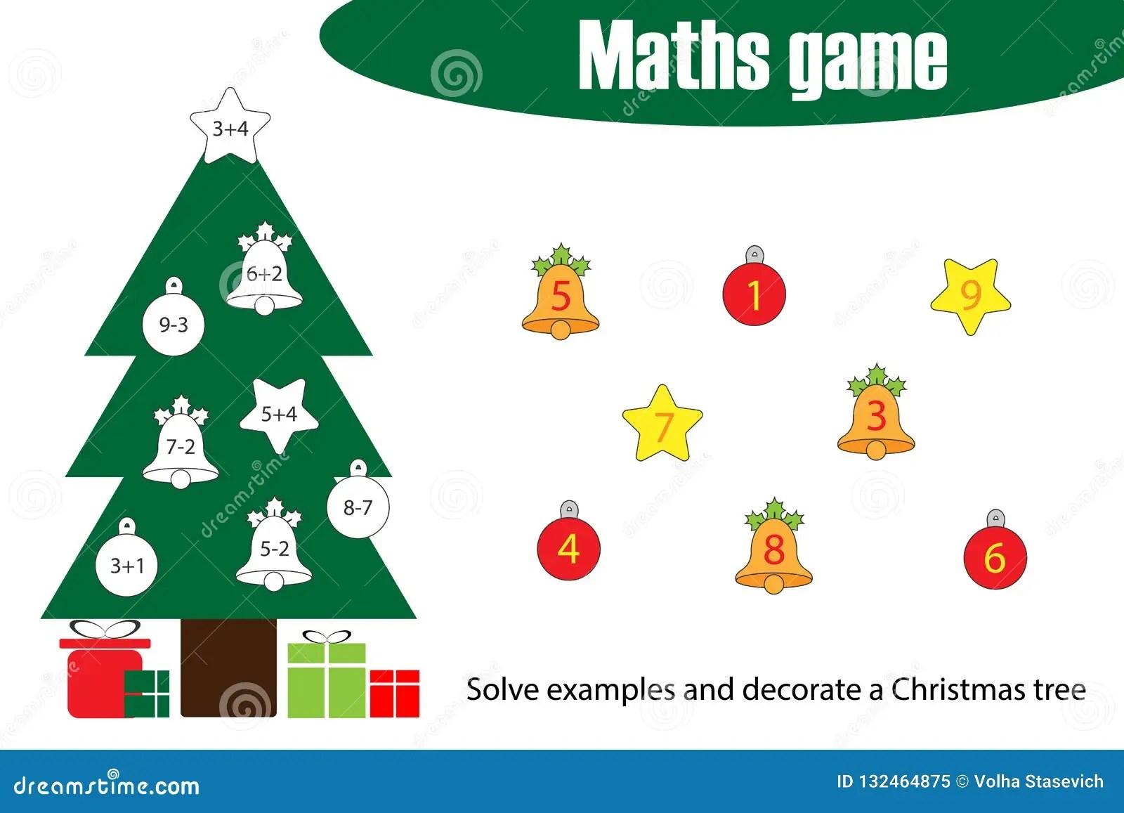 Wiskundespel Met De Boom Van Decoratiekerstmis Voor