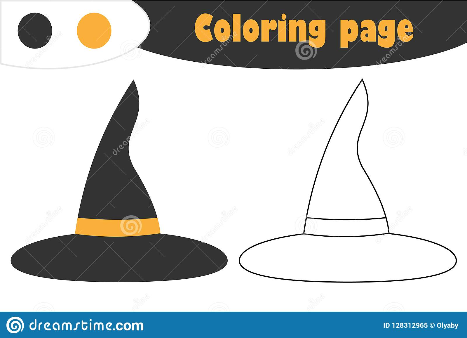 Witch Hat In Cartoon Style Halloween Coloring Page
