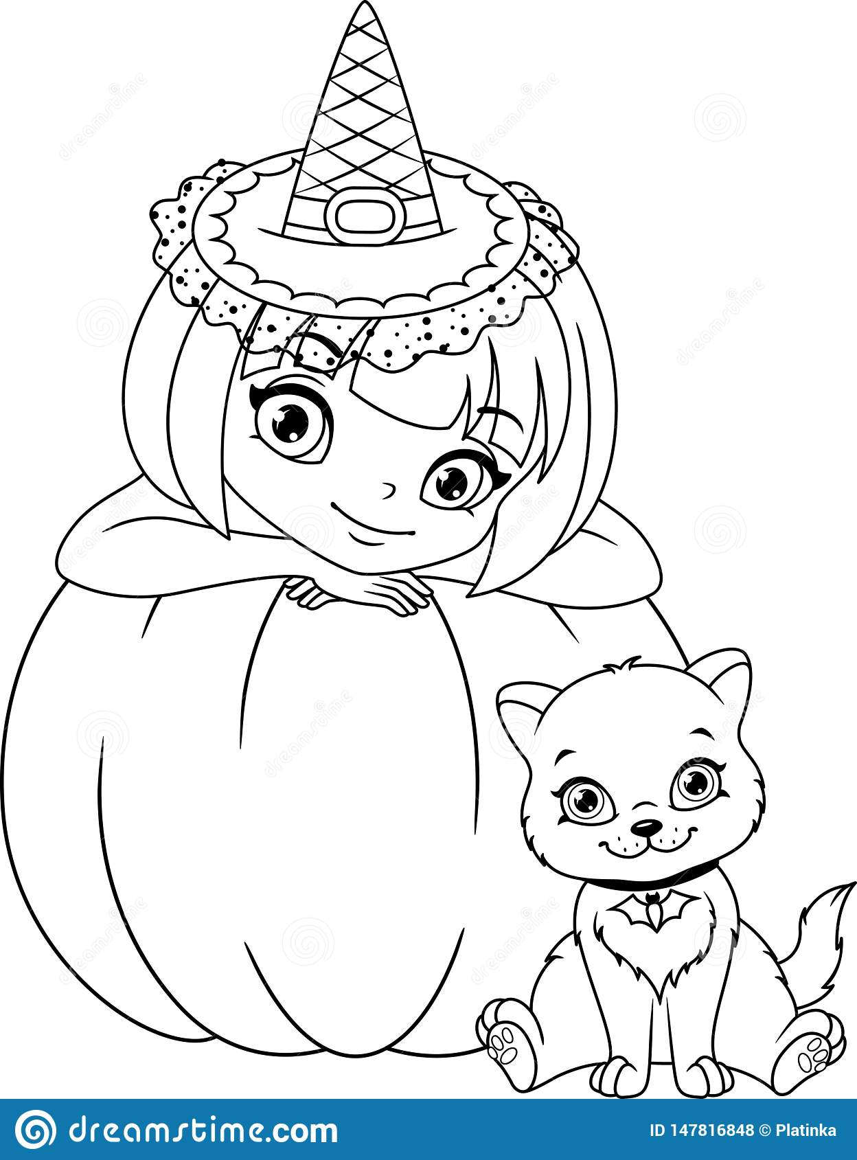 Witch With Kitten Coloring Page Stock Vector