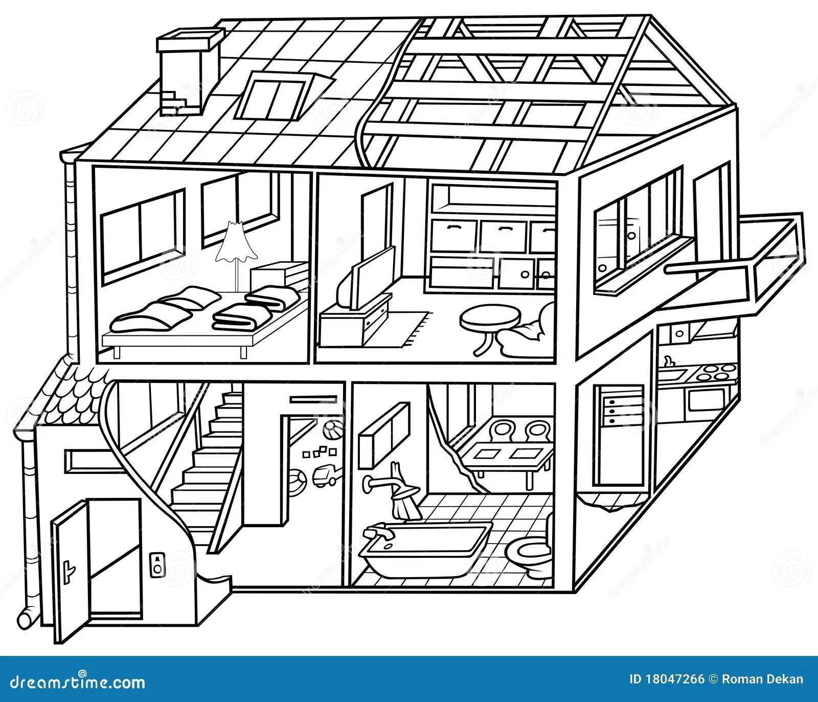 Wohnung Haus Vektor Abbildung Illustration Von Getrennt