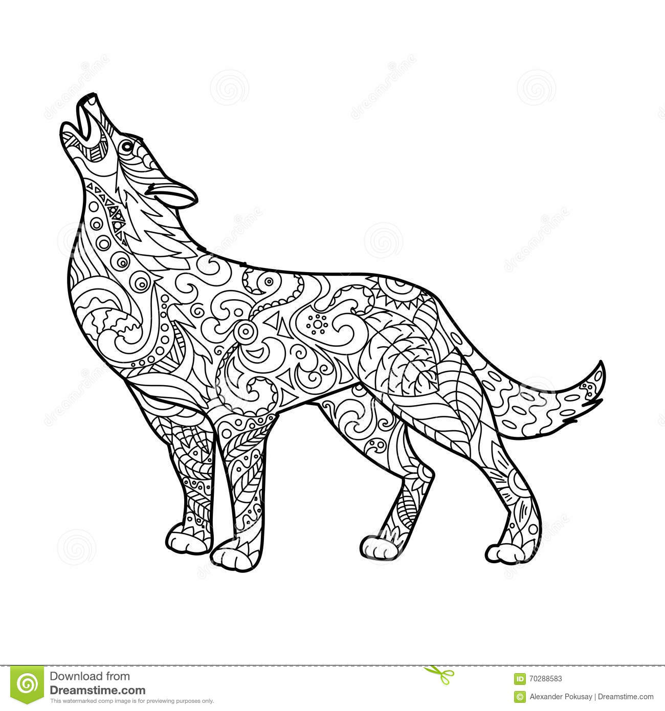 Wolf Coloring Book For Adults Vector Stock Vector