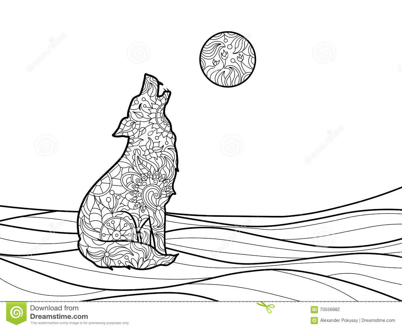 Wolf Coloring Book For Adults Vector Stock Vector Image