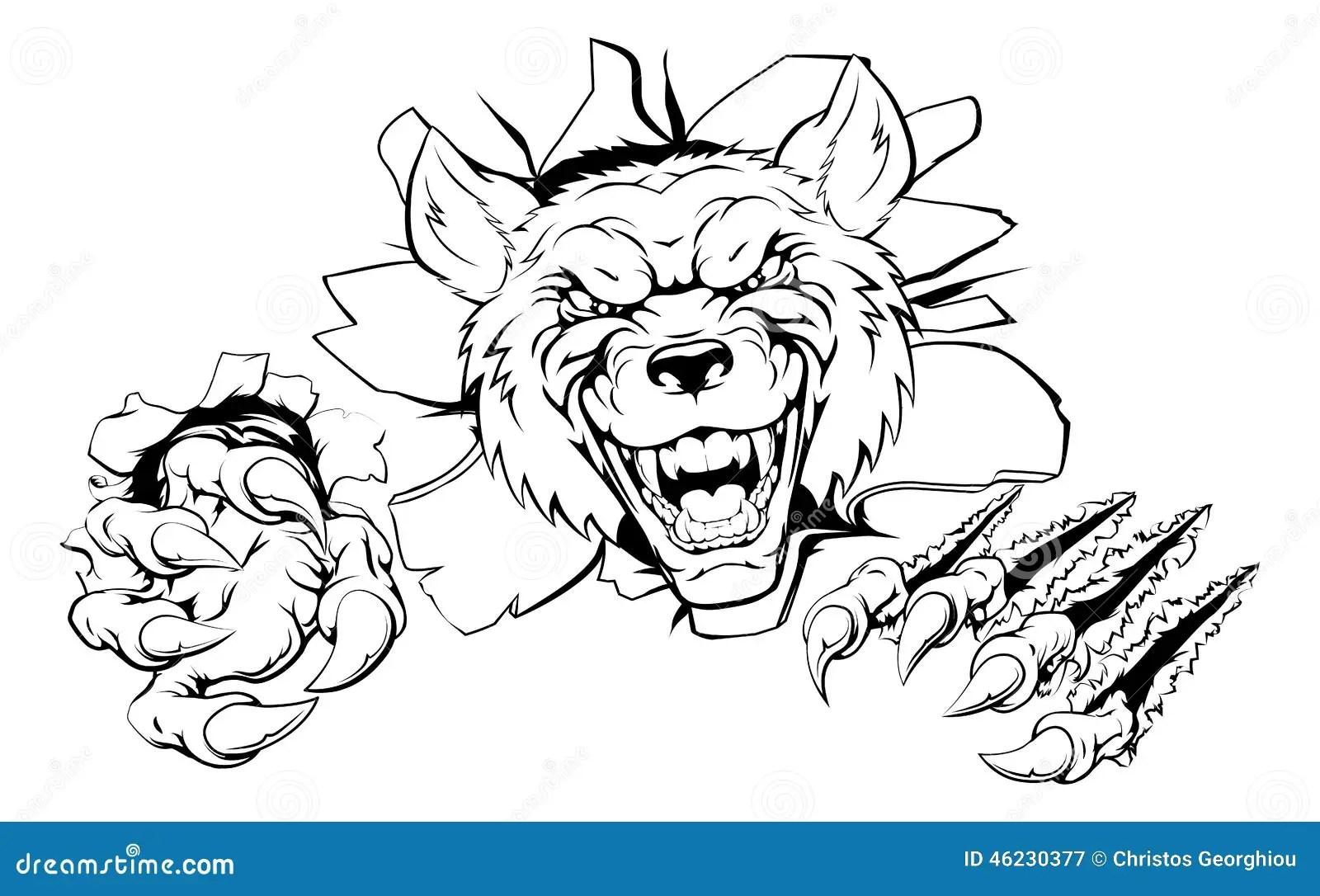 Wolf Or Werewolf Ripping Through Cartoon Vector