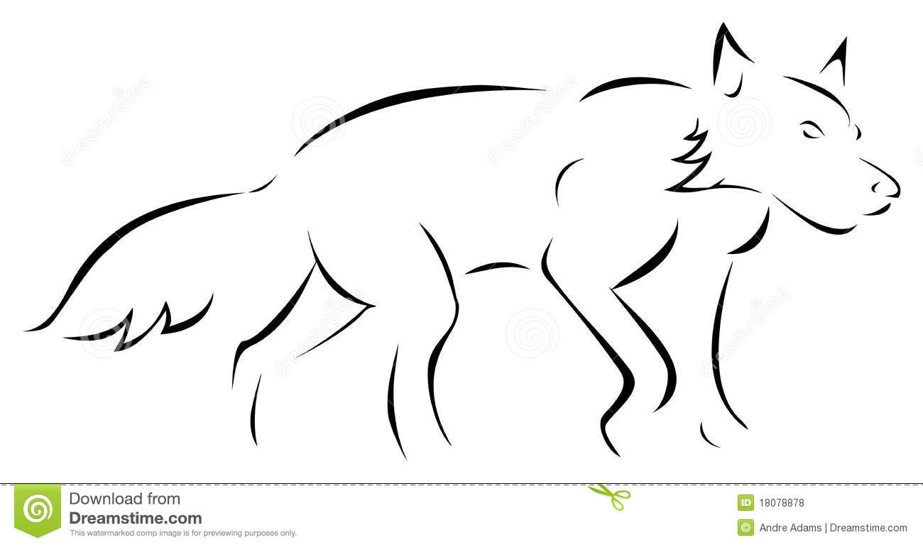 Wolf Outline Royalty Free Stock Photos
