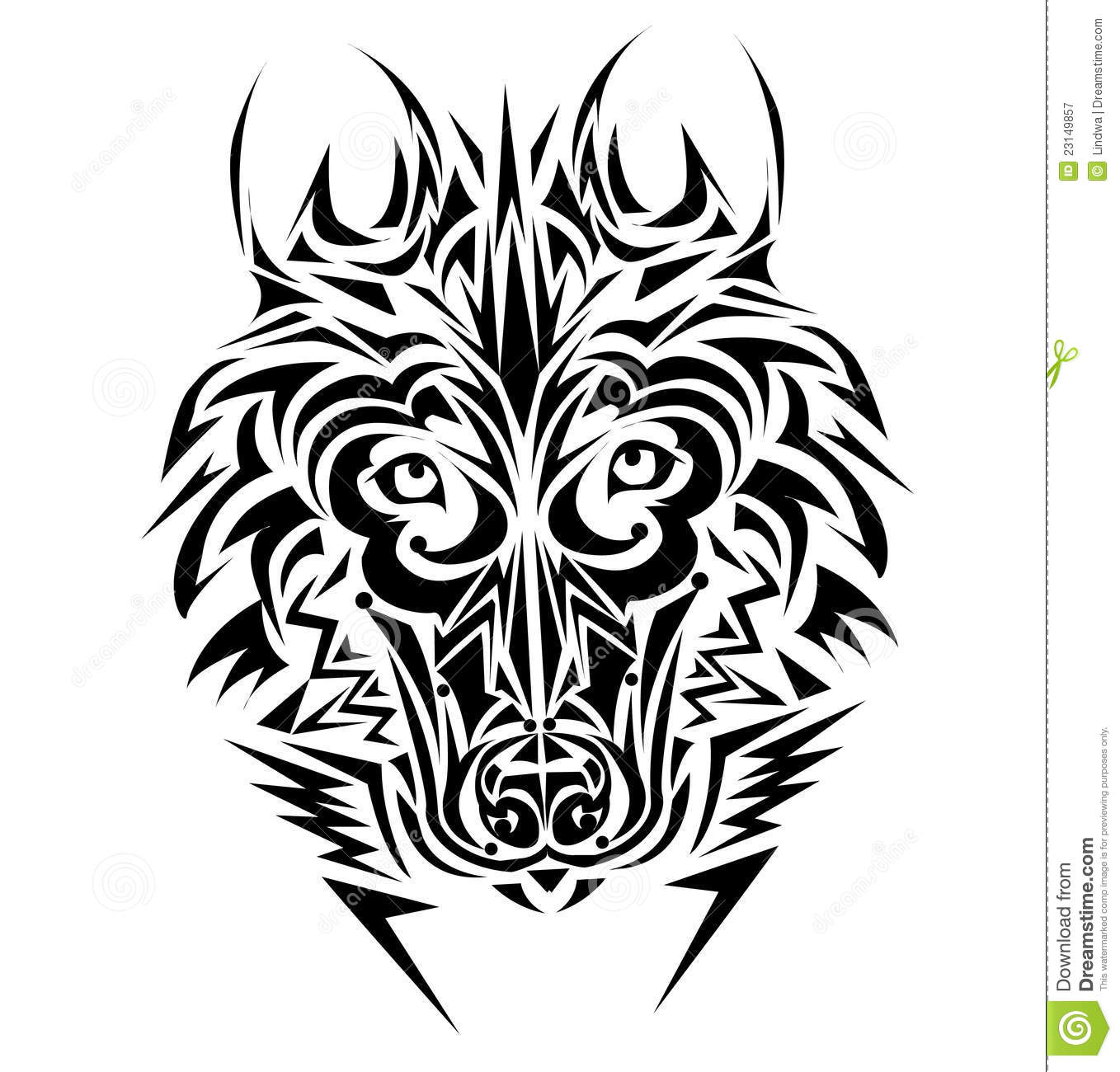 Wolf Tribal Tattoo Style Royalty Free Stock Photography