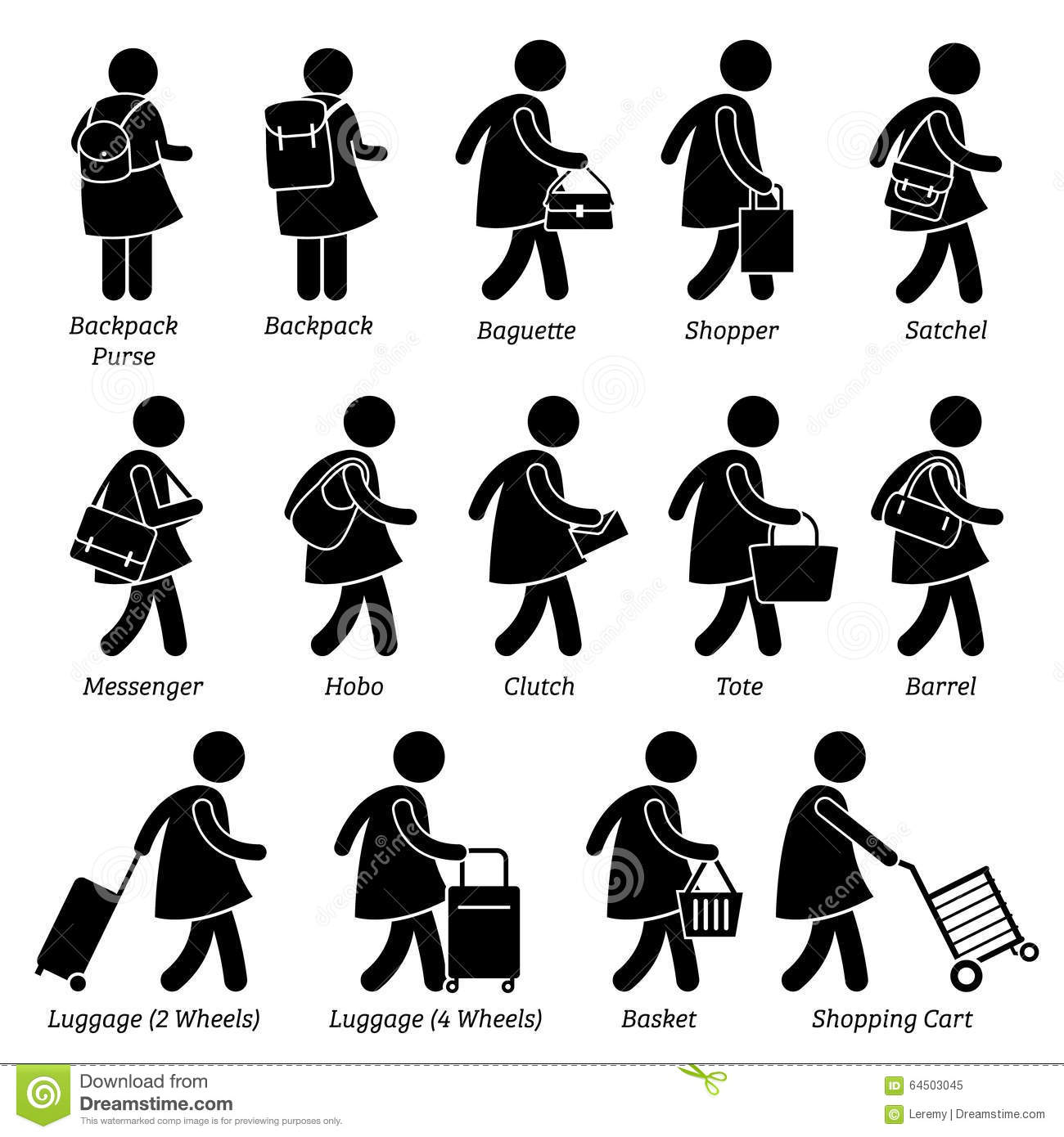 Woman Bags Purse Wallet Luggage Design Clipart Stock