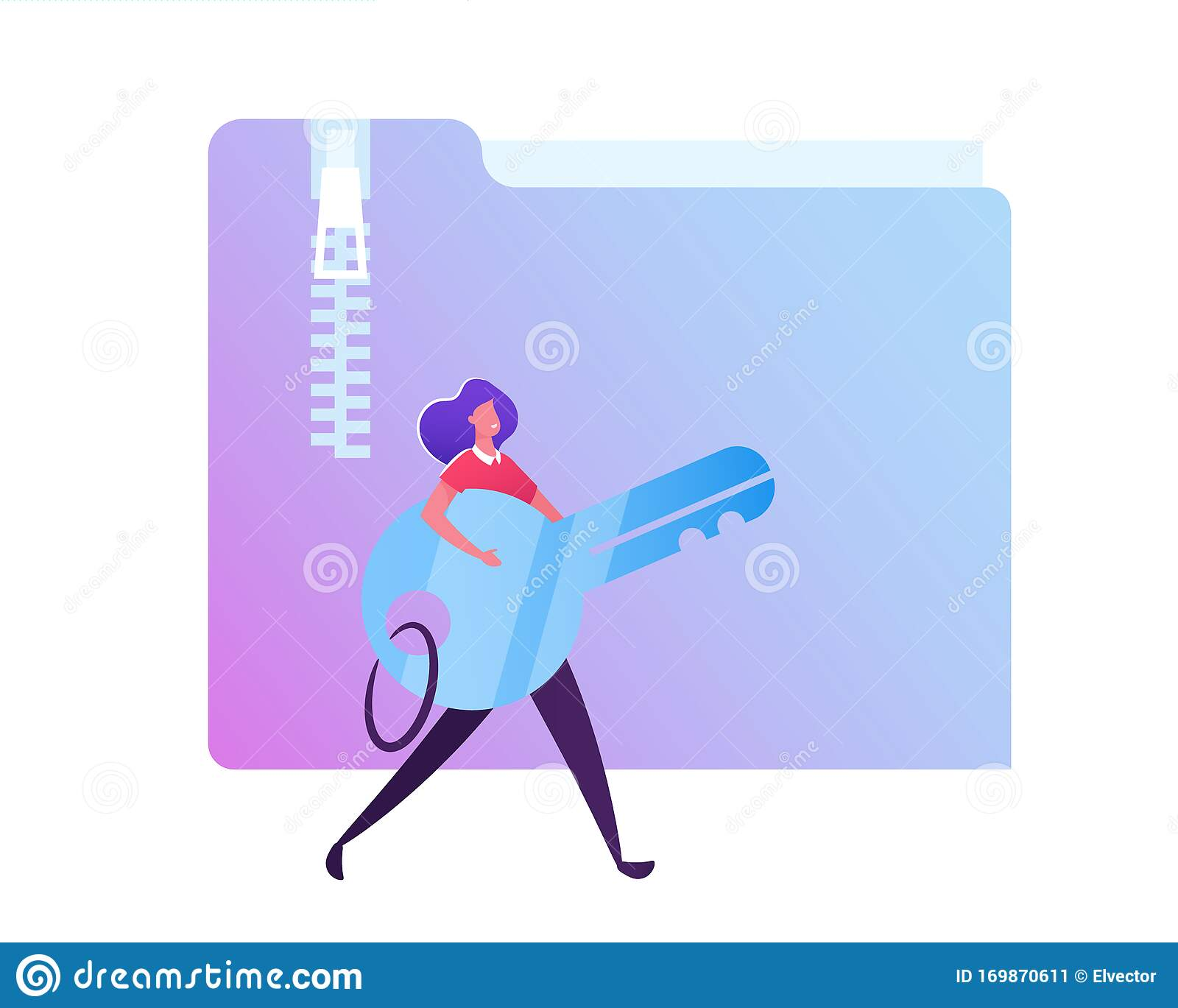Woman Carry Key In Hands On White Background With Zipped