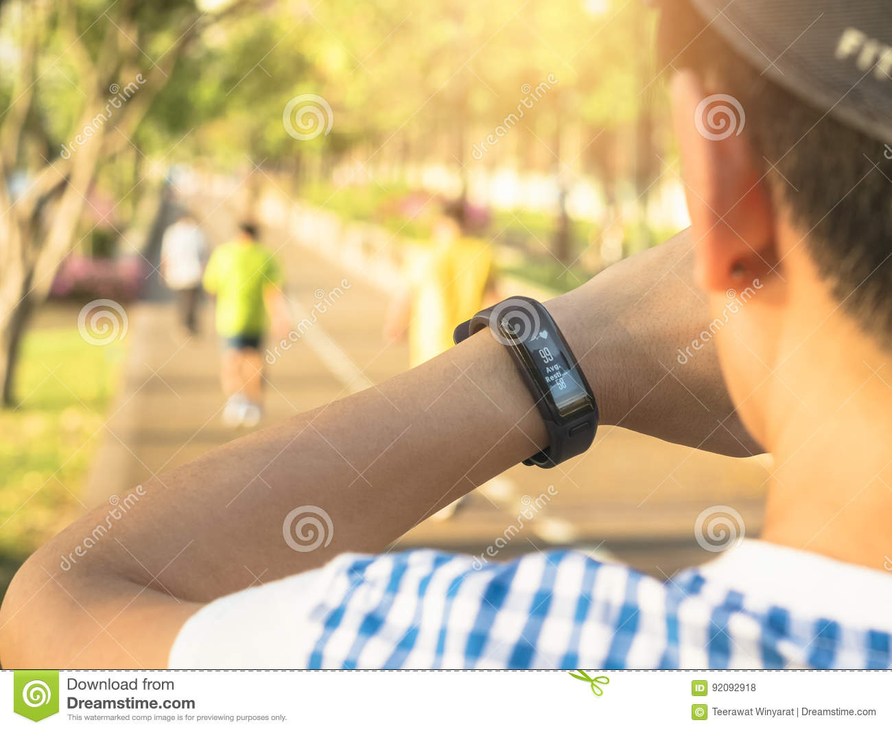 Woman Checking Heart Rate Exercise Workout Fitness Outdoor