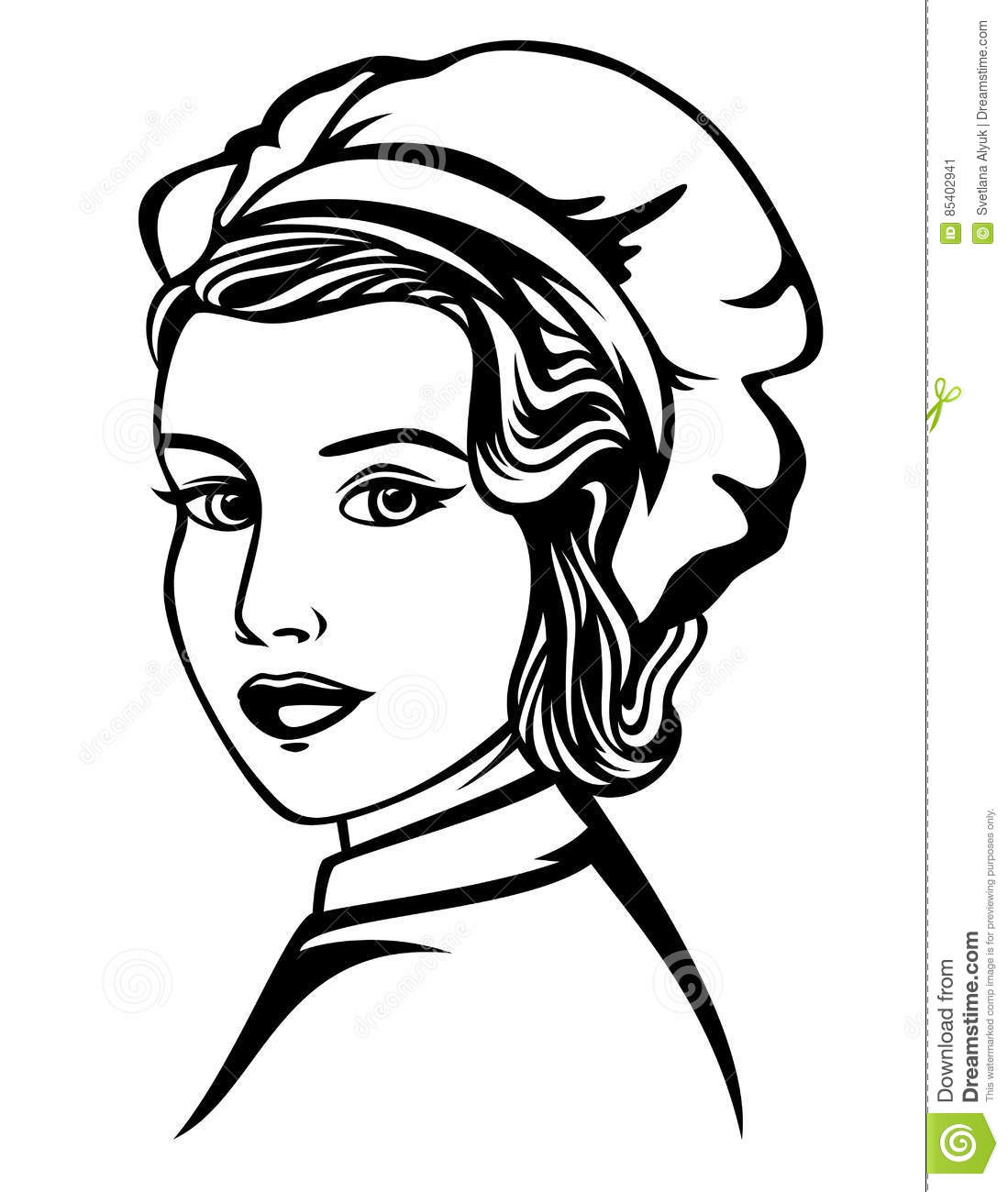 Woman Chef Vector Portrait Stock Vector Illustration Of