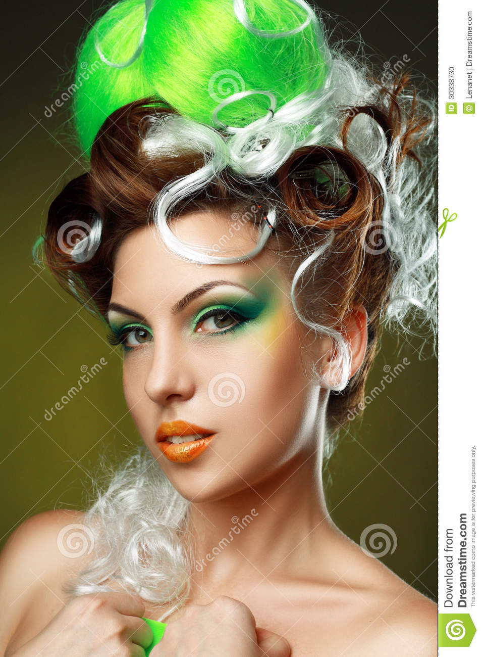 Woman With Creative Fantasy Hairstyle Stock Photo Image
