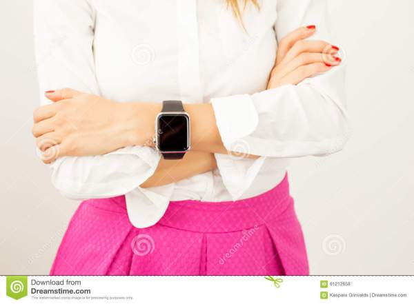 Woman With Crossed Arms And Smartwatch Around Her Wrist ...