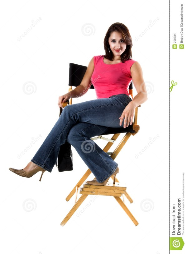 Woman In Directors Chair stock photo. Image of person ...