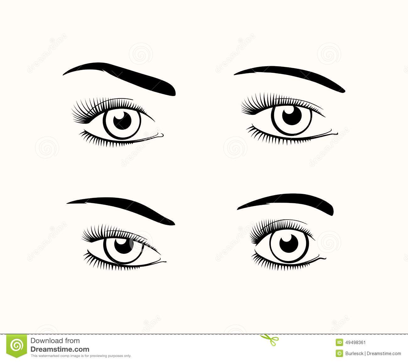 Woman Eye Silhouettes Stock Vector Image Of Drawn