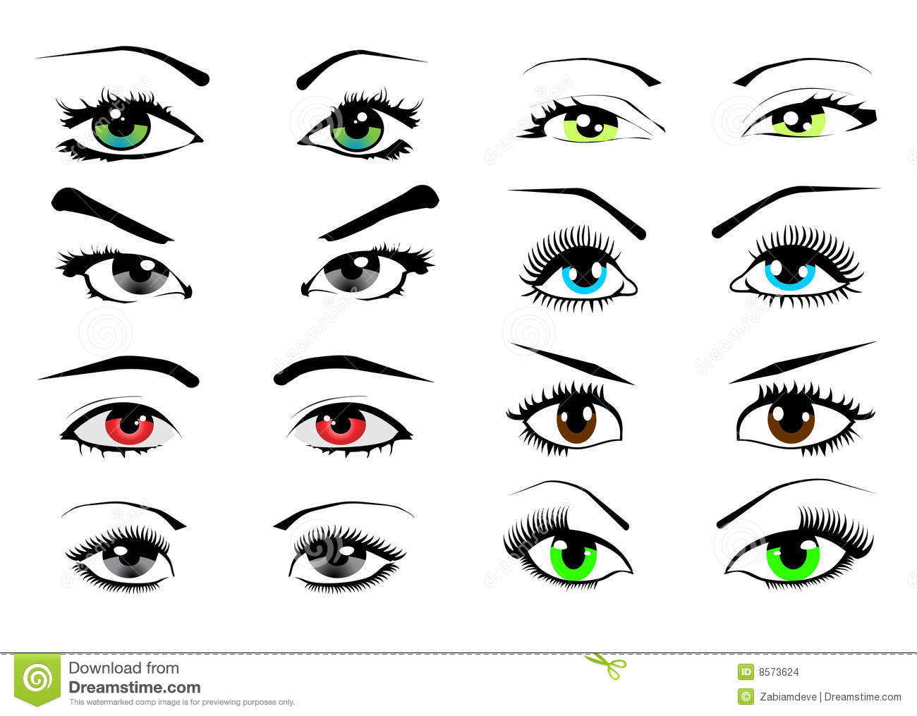 Woman Eyes Collection Vector Illustration Stock Vector
