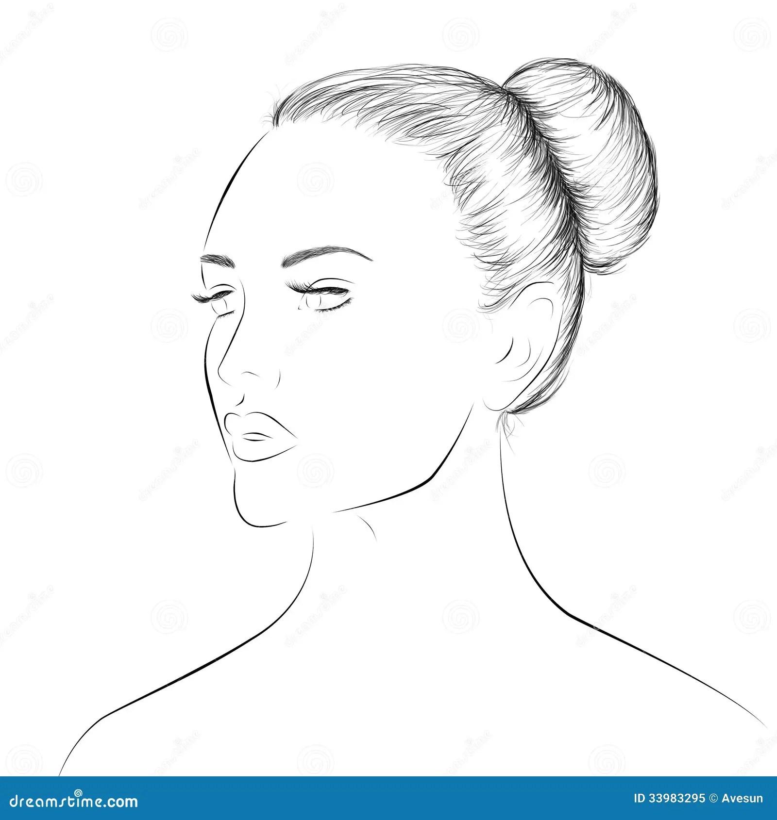 Woman Face Lineart Sketch Stock Illustration Illustration