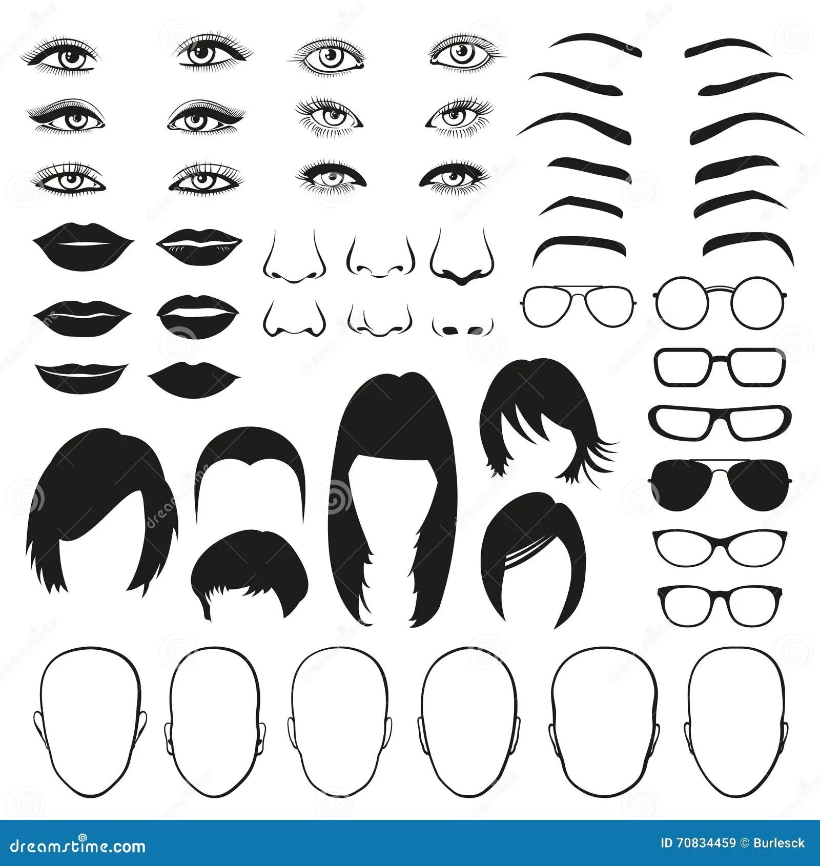 Woman Face Parts Eye Glasses Lips And Hair Vector Set