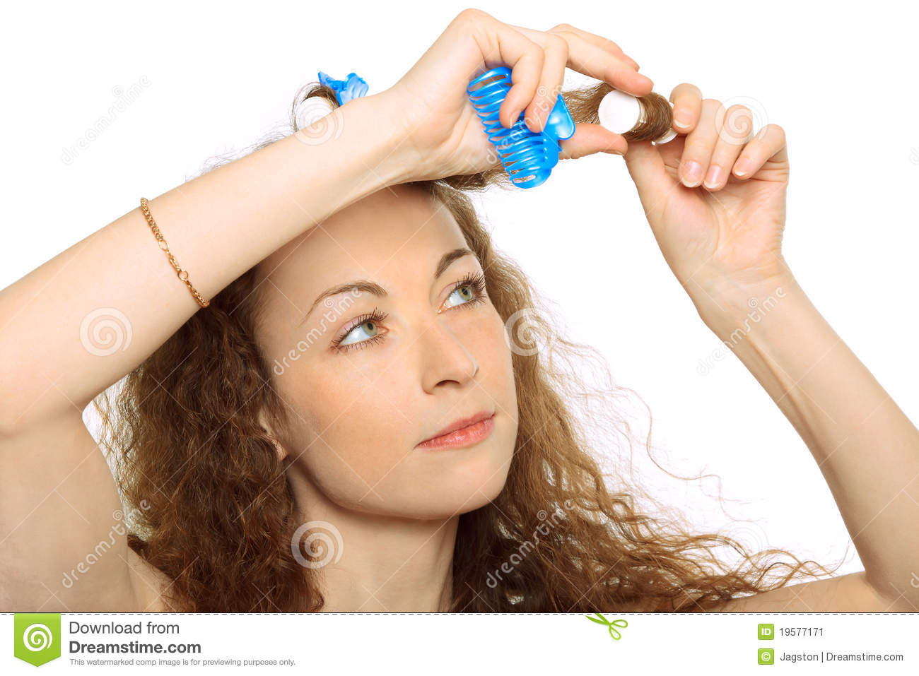 Woman In Hair Rollers Stock Image Image 19577171
