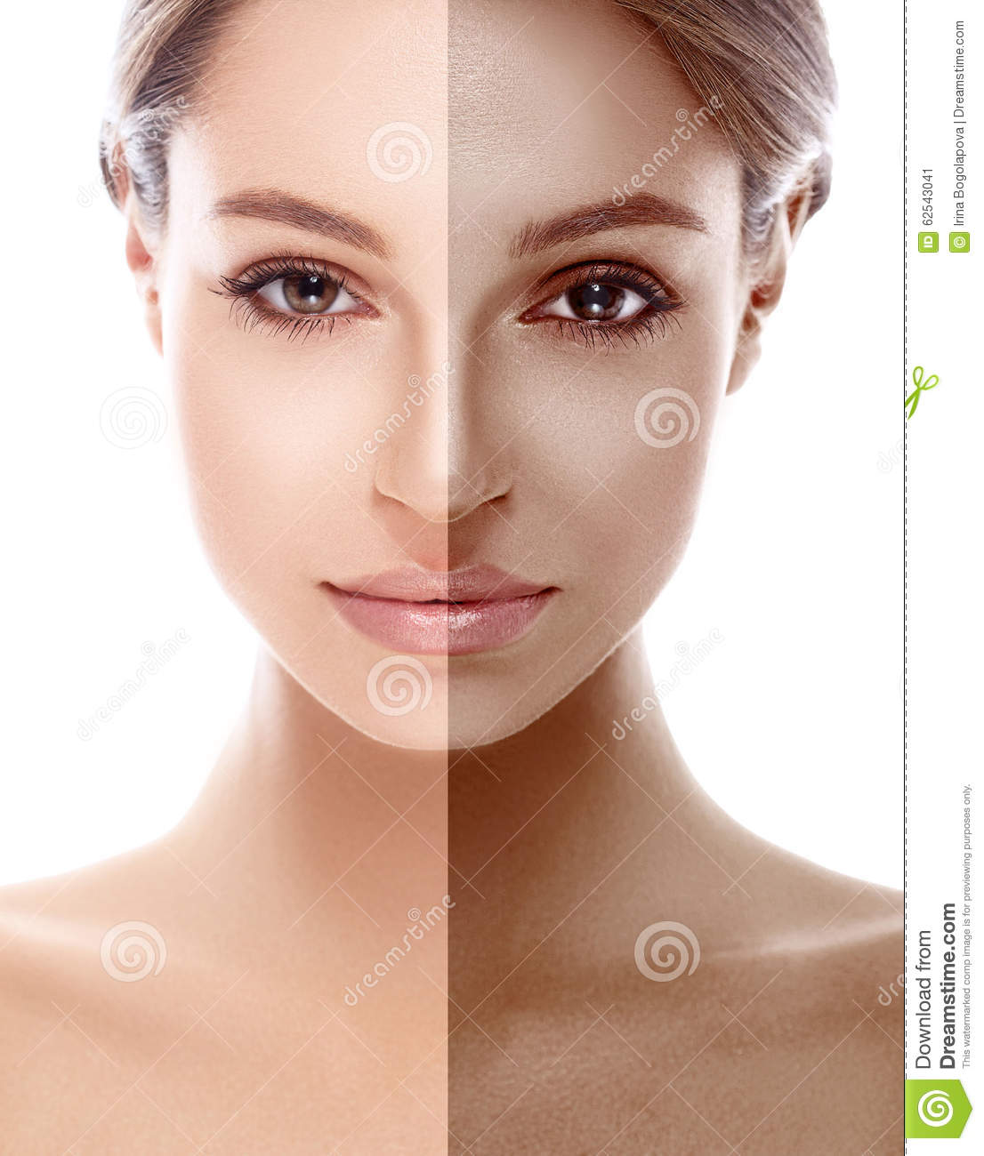 Woman Half Face Tan Beautiful Portrait Stock Photo