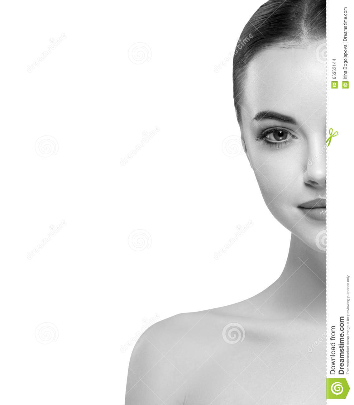 Woman Half Face Young Beautiful Healthy Skin Portrait